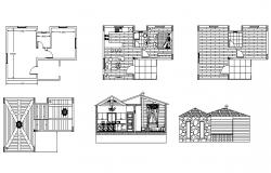 House design with section and elevation in dwg file