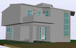 House double height in 3 D plan detail dwg file