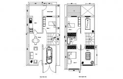 House Drawing Plan 5.5mtr x 10mtr with dimension detail