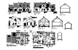 House drawing elevation, section and floor plan details dwg file