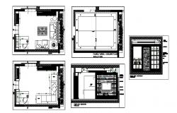 House drawing room section, plan and interior details dwg file