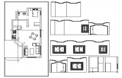 House drawing with different elevation in dwg file