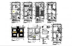 House elevation, section, floor plan, structure and auto-cad details dwg file