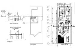 House elevation, section, roof plan and ground floor plan details dwg file