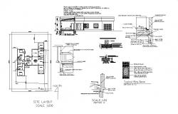 House elevation, site layout and construction cad drawing details dwg file