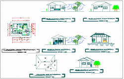 House elevation and layout plan dwg file
