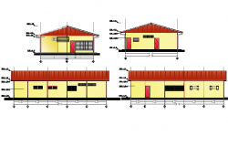 House elevation and section detail dwg file