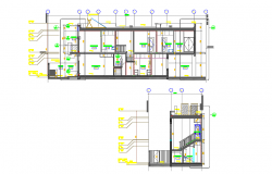 House elevation and section view  with stair section detail dwg file