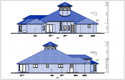 House elevation and side elevation view detail dwg file