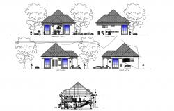 House elevation drawing in dwg file