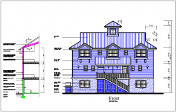 House elevation view, section view of side wall & roof connection dwg file