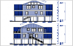House elevation view detail dwg fil