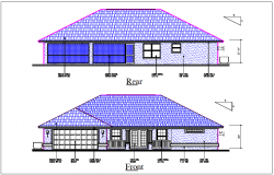 House elevation view detail dwg file