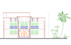 House elevation view dwg file