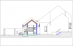 House elevation view with view of stair dwg file