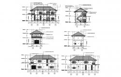 House elevation with detail dimension in dwg file