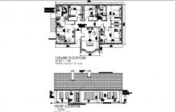 House facing elevation and distribution plan cad drawing details dwg file