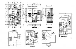House floor plan, cover plan and electrical layout plan details dwg file