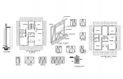 House floor plan details with doors and windows dwg file
