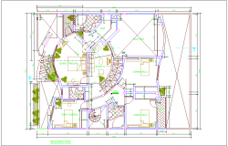 House floor plan with view of second floor plan dwg file