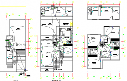 House floors electric installation details dwg file