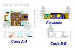 House for single family plan autocad file