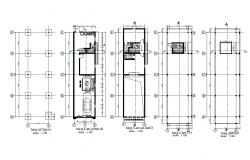 House foundation and all floors cover plan cad drawing details dwg file
