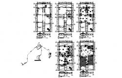 House framing plan, floor plan and electrical details dwg file
