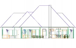 House in 3 D plan detail dwg file