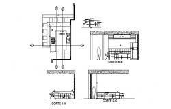 House kitchen all sided section and plan cad drawing details dwg file