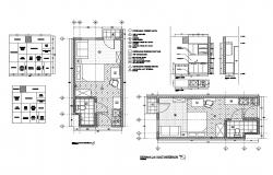House kitchen and bedroom with toilet layout interior details dwg file