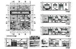House kitchen elevation, section, plan and furniture layout plan details dwg file