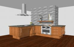 House kitchen model 3d drawing with interior cad drawing details skp file