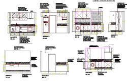 House kitchen with cut sectional view details dwg file