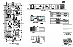 House layout plan and sectional details dwg file