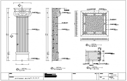 House pillar,elevation,section and plan with construction view dwg file