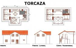 House plan, elevation and section detail dwg file
