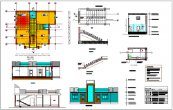House plan,elevation and section view with door,window and sanitary detail dwg file