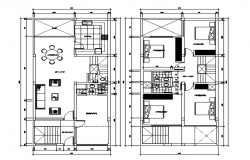 House plan 15.00mtr x 7.45mtr with detail dimension in autocad
