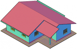 House plan 3 D view detail dwg file