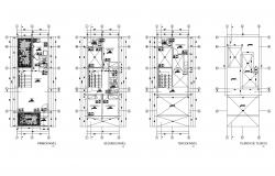 House plan 5.00mtr x 13.00mtr with detail dimension in autocad