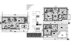 House plan 55' x 22' with detail dimension in dwg file