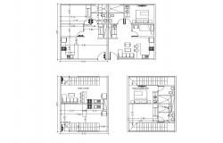 House plan 6.15mtr x 8.51 with detail dimension in AutoCAD