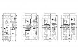 House plan 7.45mtr x 15.00mtr with furniture details in dwg file