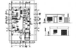 House plan 7.50mtr x 15.0mtr with detail dimension in dwg file