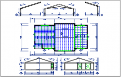 House & roof plan detail with roof projection plan view detail dwg file