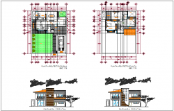 House plan design view with elevation view dwg file