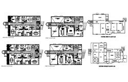 House plan design with furniture details in autocad