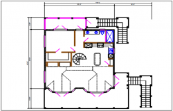 House plan elevation detail dwg file