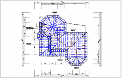 House plan view and projection roof structure plan view detail dwg file